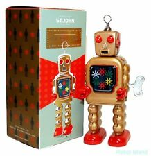 "HIGH WHEEL ROBOT GOLD 5"" Saint John Tin Toy Windup Collectible - SALE!"