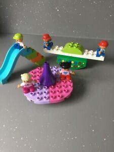 Lego Duplo Playground. Roundabout, See-saw, Slide, minifigures