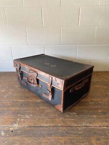 Vintage Black Canvas Steamer Travelling Trunk Chest Suitcase Leather Trim