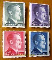 EBS Germany 1942 Adolf Hitler Hitlerkopf Michel 799A-802A MNH** cv $38.00