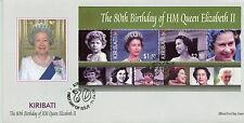 Kiribati 2006 FDC Queen Elizabeth II 80th Birthday 2v M/S Cover Royalty Stamps