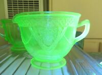 Vintage Green Vaseline Glass Creamer ~ Georgian Federal Depression ~ Swags Birds