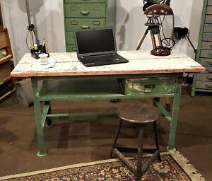 alte Werkbank Kücheninsel Schreibtisch Industriedesign Loft Vintage restauriert
