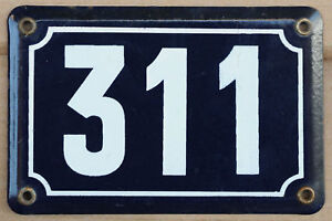 Old blue French house number 311 door gate plate plaque enamel steel metal sign