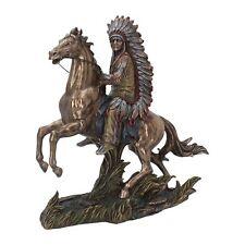 Indianer Figur mit Pferd bronziert coloriert Winnetou Apachen Sammlerfigur NN54