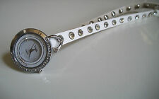 White Wrap Around Watch with Bling Sparkly Rhinestones Crystals