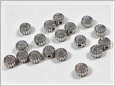 20 Metallperlen Sonnenblume 6*3mm antik silber