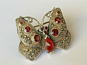 Vintage Solid silver Red Stone Set Marcasite Butterfly Brooch Ladies Jewellery