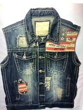Smoke Rise Denim Vest, Unisex, Sm, Distressed With Flags, So Awesome