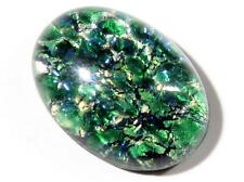 (1) 25mm Czech vintage oval dragons breath fire opal foil green glass cabochon