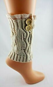 Ankle Cuffs Warmers Solid Beige Ivory Lace Buttons Acrylic Knit