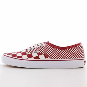 Men Vans Authentic Skate Shoes Sneakers Mix Checker Chili Pepper Red White