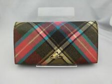 VIVIENNE WESTWOOD Long Wallet Plaid Red x Brown x Blue Accessory from Japan Used