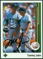 Original Autograph of Tommy John of the NY Yankees on a 1989 UD Card
