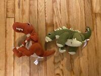 Animal Adventure Green Stegosaurus T-Rex Plush Stuffed Dinosaur Lot Christmas