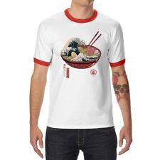 The Great Ramen off Kanagawa funny Ringer T-shirts Men's Cotton Short Sleeve top