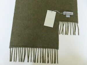 Mens 100% cashmere scarf country green hint of mustard Made in Scotland NEW wool
