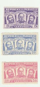 Paraguay 1954 National Heroes Set of Mint Stamps