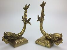 Pair Vintage Heavy Solid Brass Asian Fish Bookends Mid Century Modern Korea Carp
