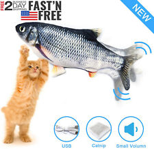 Electric Cat Toy Realistic Moving Wiggle Fish Interactive Flopping Plush Toy Usb