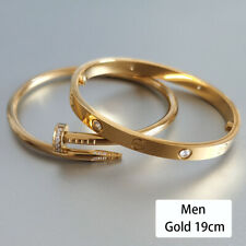 Men Women 18k Gold Plated Stainless Steel Love Screwdriver Bangle Bracelet Set