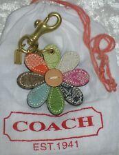 COACH Leather Patchwork Flower Daisy Key Ring Chain FOB Purse Charm
