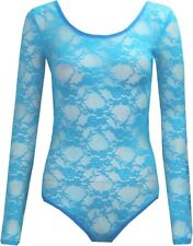 Sexy Womens Long Sleeve Floral Lace Bodysuit Ladies Flower Lace Top Leotard 8-26