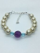 Elegant handmade Faux Cream Pearl & Purple Crystal beaded Jewelery Bracelet Gift