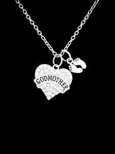 Godmother Necklace Baby Feet Mother's Day Gift Will You Be My Godmother Jewelry