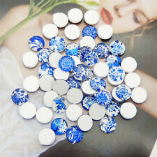6-15mm Mixed Glass Blue & White China Scrapbooking Cabochon Flatback Accessories