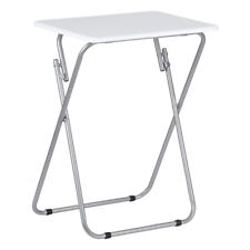 Premier Folding End Table, White Gloss Table Top, Silver Finish Frame 48x38x66cm