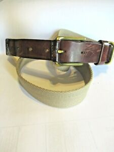 Men's Braided Cotton Taupe Casual and Leather Belt Surcingle SZ 37/38   1405