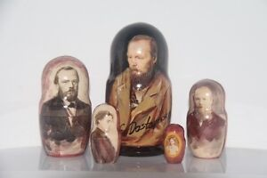 "Dostoevsky FAMOUS russian writer Matryoshka russian doll nesting doll 5 pc ""7"
