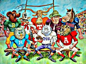 VINTAGE COLLEGE SPORTS FOOTBALL POSTER 1969 DON COLLINS SOUTHWEST CONFERENCE