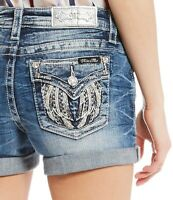 Miss Me Women Fashion Angel Wing Fly Hi Summer Beach Denim Vintage Shorts Jeans