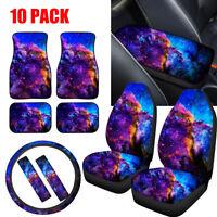 10PC Set Car Seat Cover+Floor Mats+Steering Wheel Cover+Seat Belt/Armrest Pads