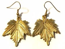 "Vintage Gold Tone Leaf Fall Hook Earrings 2"""