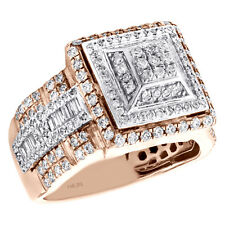 14K Rose Gold Mens Baguette Diamond Tier Pinky Ring 12mm Stap Shank Band 1.88 CT
