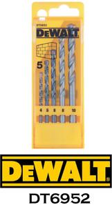 DeWALT 5 Piece Masonry Drill Bit Set DT6952 4-10mm Brick Block Stone Tile