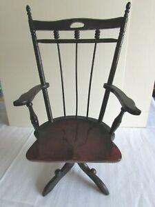 "Vintage Black Doll Chair 14 3/4""H Wood Wooden 52989"
