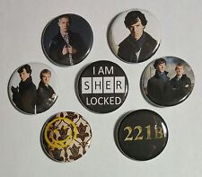 "Lot of 7 1.25"" Pinback Buttons Badge Sherlock Holmes & Dr. Watson (Approx. 32mm)"