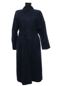 Women's Vintage BURBERRYS London Navy Cotton Belted Trench Coat Size 14 Long