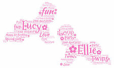 TWINS Personalised 1st Birthday - Christening Word Art Print - Boy or Girl