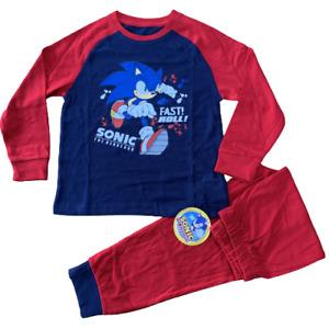 Boys Sonic the Hedgehog Pyjamas PJs Long Sleeve Top & Bottom Kids Age 3- 9 Years