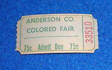 Vintage Black Americana Anderson Co Colored Fair Ticket Stub