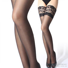 LACE TOPPED THIGH HIGH SHEER FISHNET STOCKINGS - HOLD UPS