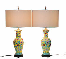 Pair Vintage Japanese Porcelain Sunny Yellow Famille Jaune Quality Vase Lamps