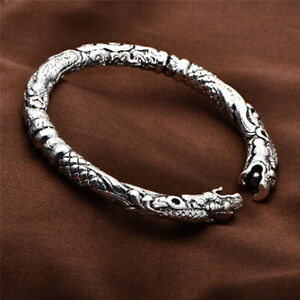 Mens Sterling Silver Plated Double Dragon Heads Cuff Open Bangle Bracelet #BR02