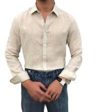 Mens Vintage Style Linen Shirt Button Front Long sleeve British Leisure Blouse L