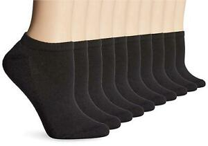 Hanes Big and Tall Women's Multi Pack No Show Sock, Black,, Black, Size 10.0